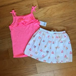 NWT Carter's Heart Scooter Skirt And pink tank